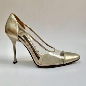 Vintage 1980s silver Lagerfeld stiletto pumps